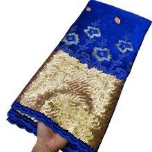 Синяя африканская бархатная кружевная ткань высокого качества