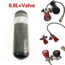 Ac168 acecare 6.8l 4500psi cilindro de gás de gás fibra carbono para mergulho pcp carabina ar rifle airforce condor válvula estação enchimento