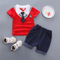 Baby Boy Clothing Birthday Outerwear Set For Newborn Infant Baby Boy Summer Short Sleeve T Shirt + Pant Suit Clothes Sets 40