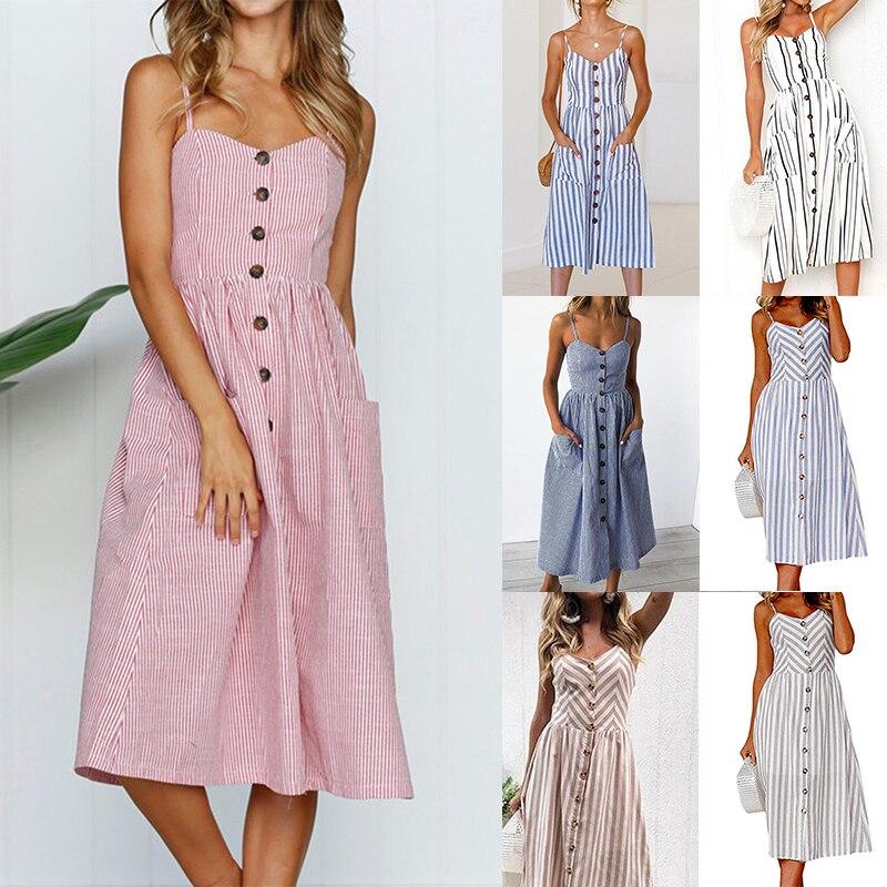 Женское летнее платье, богемное платье на бретельках, на пуговицах, платье средней длины с карманами, Цветочная туника, розовое пляжное плат