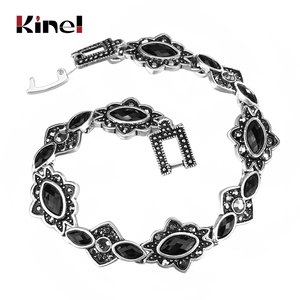 Kinel Fashion Silver Color Bracelets For Women Bohemian Ethnic Charm Black Resin Bracelets & Bangles Vintage Jewelry Wholesale