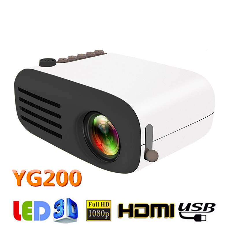 YG200 mini portable projector 600 lumens 320×240 pixels support 1080P playback HDMI USB 3.5mm audio home media player