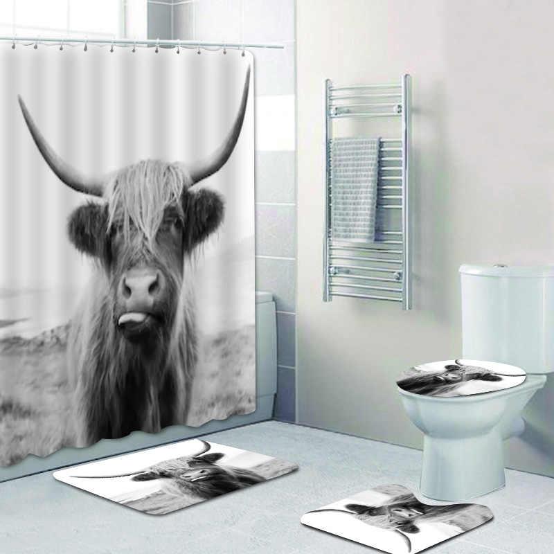 3d black and white highland cow shower curtain bathroom curtains and bath mat set for toilet bathtub wild life animal home decor