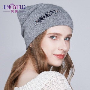 Image 2 - ENJOYFUR новые женские зимние шапки с двойной подкладкой Женская кепка со стразами Ангорский кролик толстые осенние вязаные шапки