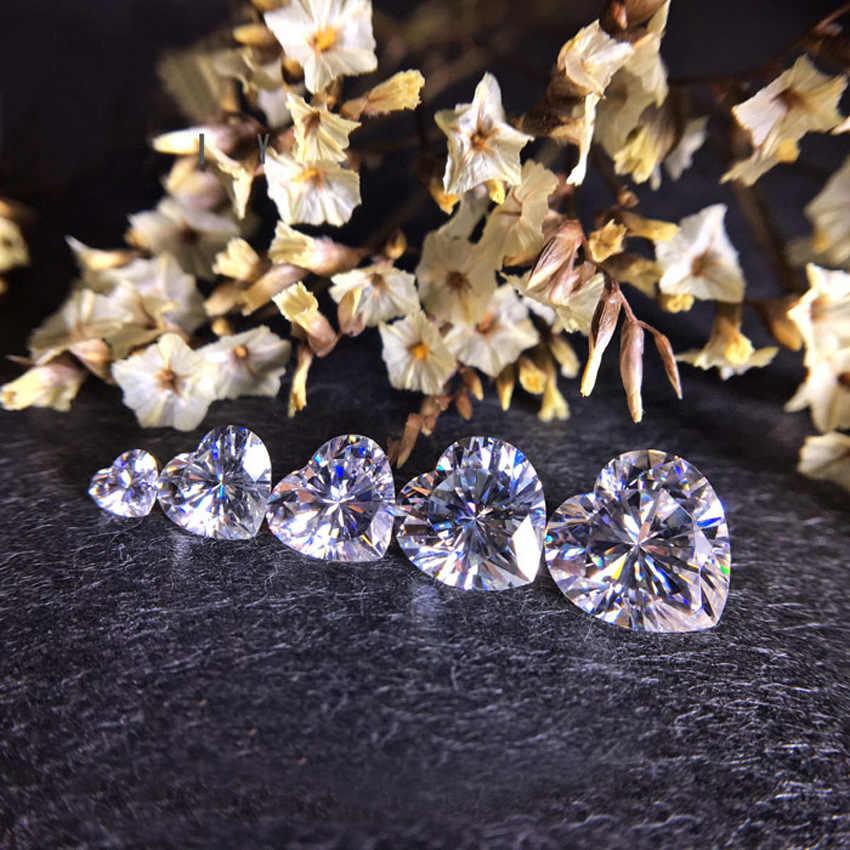 0.5 קרט 5mm Loose Moissanite לב D צבע מבריק לחתוך VVS1 לב בצורת Moissanite יהלומים עבור טבעות אירוסין תכשיטי diy