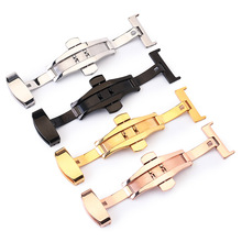 Button-Accessory Clasp 24mm 10-12-14 16-18-20-22 Nonautomatic-Watch Stainless-Steel Double-Press