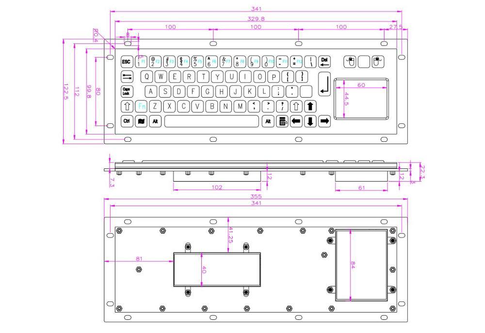 IP65 Stainless Steel USB Kiosk Keyboard With Touchpad Metal Industrial Keypad For Ticket Vending Machine Mini Metallic Keyboard