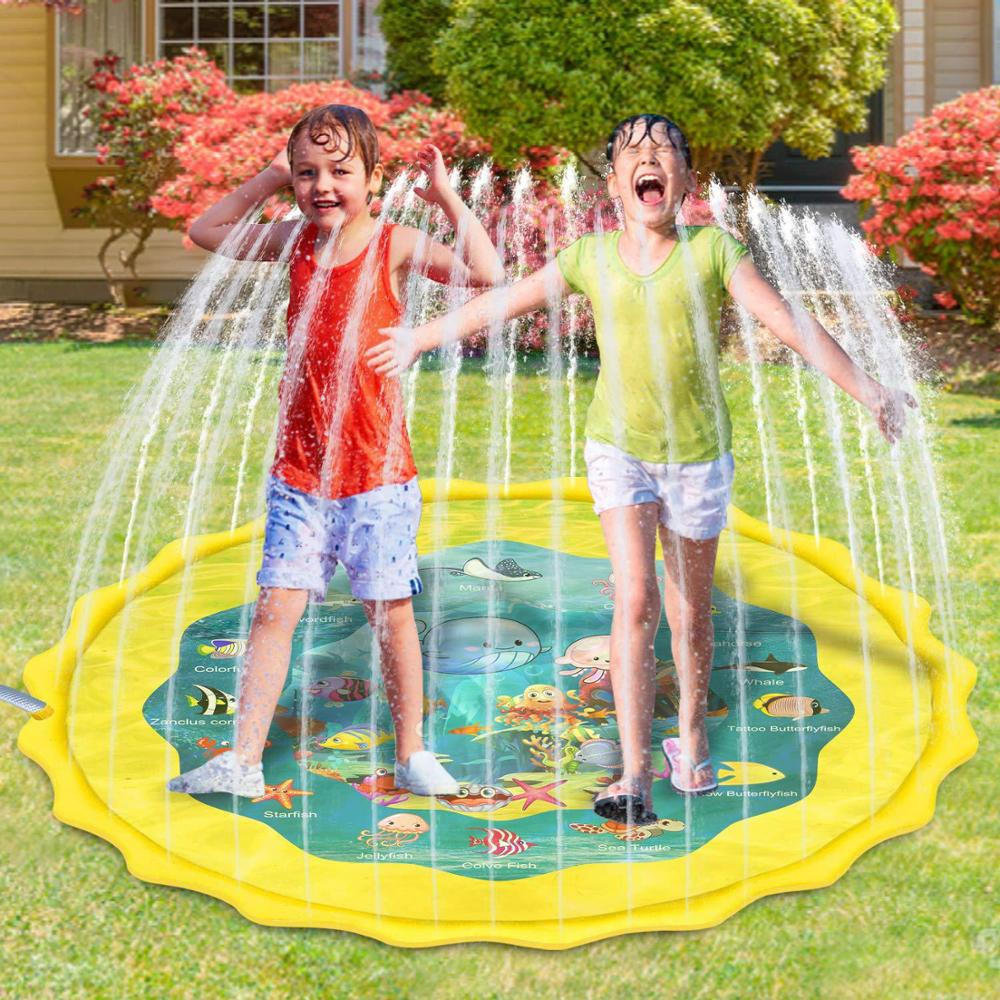 Free Shipping Outdoor Lawn Beach Sea Animal Inflatable Water Spray Kids Sprinkler Play Pad Mat Tub Swiming Pool