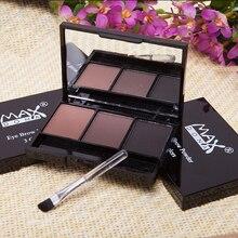 Палетка теней для бровей, 3 цвета, косметика, брендовый усилитель для бровей, профессиональные водостойкие тени для макияжа глаз с кисточкой...