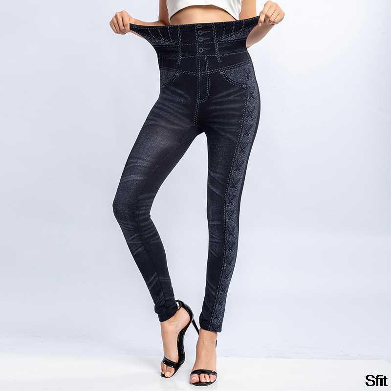 2019 neue Mode Schlanke Frauen Leggings Faux Denim Jeans Fitness Elastische Nahtlose Leggings Lange Tasche Sexy Casual Bleistift Hosen