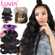 Luvin 26 28 30 Inch Peruvian Remy Body Wave Human Hair Weave Bundles With 6x6 Lace Closure Frontal 3 4 Bundle Weaves Extension(China)