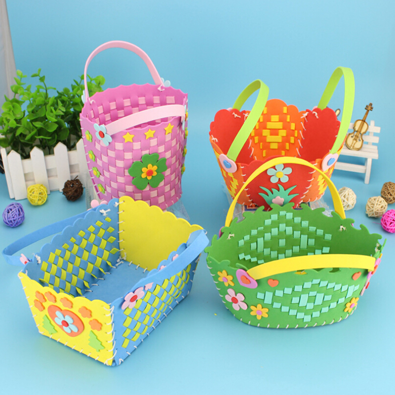 Handmade Crafts Cute Flower Style EVA DIY Bags Kids Boys Girls Cartoon Sewing Basket Kids Children Braid Basket Kit
