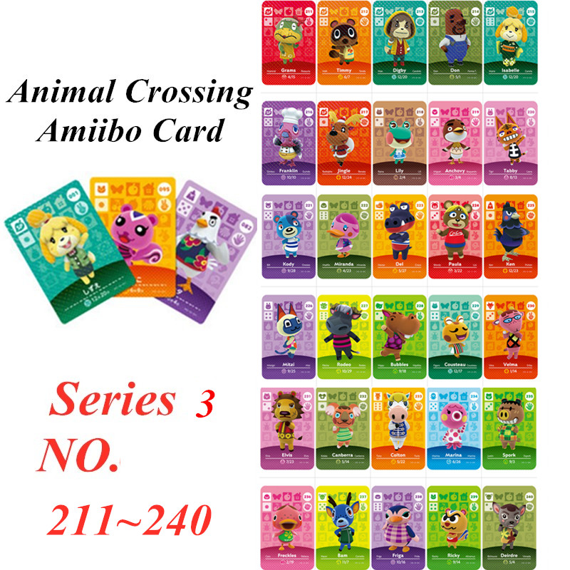 Animal Crossing Card Amiibo NFC Card For Nintendo Switch NS Games Series 3  (211 To 240)