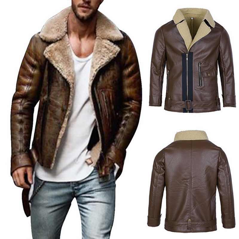 Herren Leder Jacken Mode PU Casual Dicke Warme Pelz Kragen Männlichen Motorrad Jacke Winter Faux Biker Mäntel Winddicht