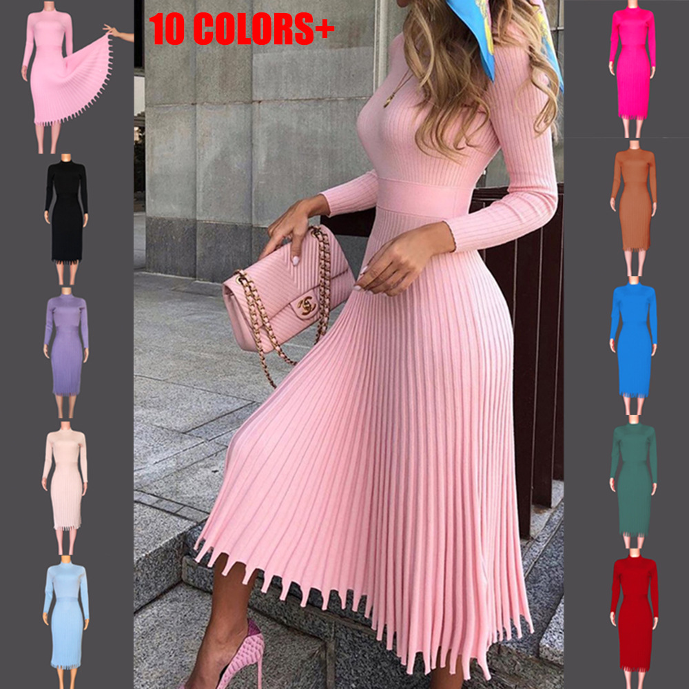 Cross Border Autumn And Winter Hot Selling New Style Fashion WOMEN'S Mid-length Sweater Knit Solid Color Pleated Dress Colourful