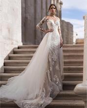 Vestidos de boda de sirena de encaje de manga larga con tren desmontable 2019 botones de espalda nupcial vestidos de novia vestido de novia