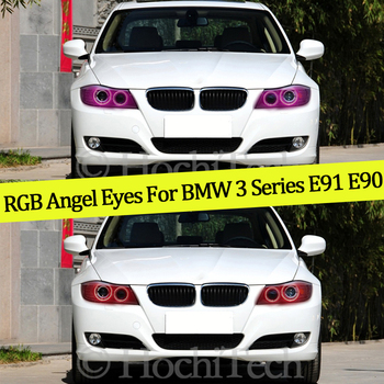 4PCS Multi-color RGB Changeable LED SMD Halo Ring Angel Demon Eyes Day Light For BMW 3 Series E91 E90 LCI Xenon headlights image