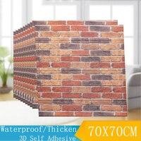 70*70 Vintage 3D Brick Stripes Wall Panel Stickers Waterproof Foam Border Decals Living Room Bedroom Home Decor Wood Wallpapers