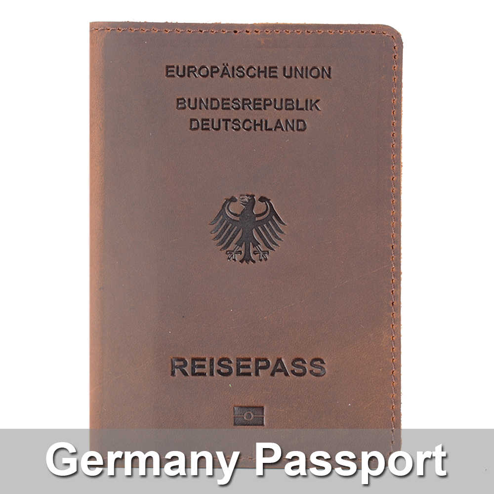 Genuine Leather Germany Passport Cover Designed For German Crazy Horse Leather Card Holder Passport Case