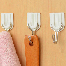 18Pcs/lot White Sticky Self-Adhesive Hook For Kitchen Bathroom Tower