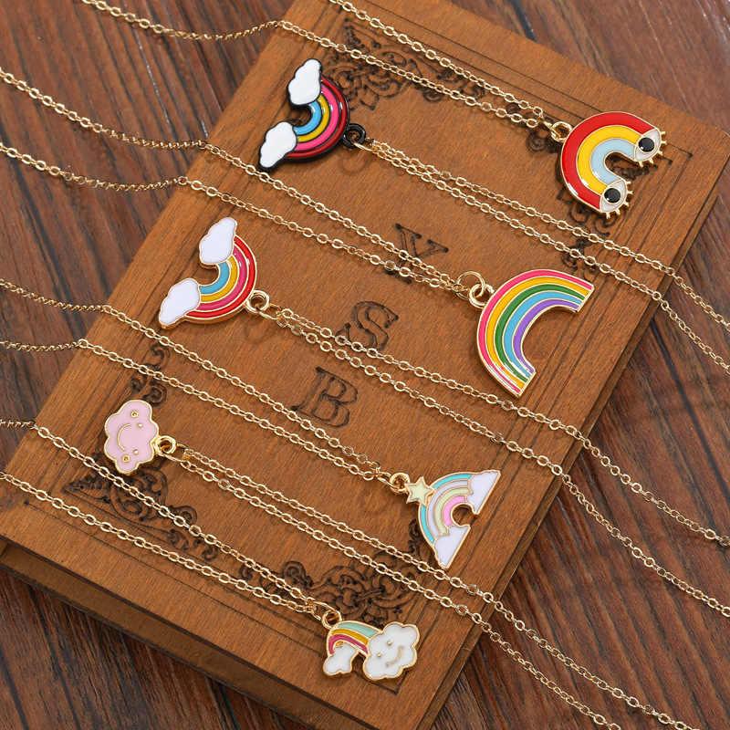 Mode Regenboog Hanger Ketting voor Vrouwen Mannen Leuke Kleurrijke Regenboog Wolken Vriendschap Ketting Trui Keten Sieraden