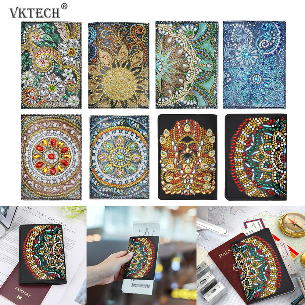 Mosaic Colorful Floral Fashion Leather Passport Holder Cover Case Travel Wallet 6.5 In