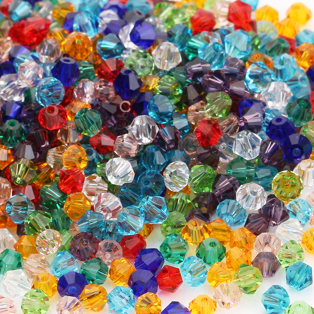 Top AAA <font><b>Glass</b></font> Crystals Loose Faceted Bicone <font><b>Beads</b></font> Diy <font><b>Bead</b></font> <font><b>4mm</b></font> 200PCS For Jewelry Making Bracelet Bangles Necklace image