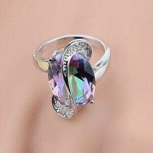 Image 5 - Mystic Rainbow Fire Australian Crystal 925 Silver Jewelry Set For Women Wedding Earrings/Pendant/Necklace/Rings/Bracelet