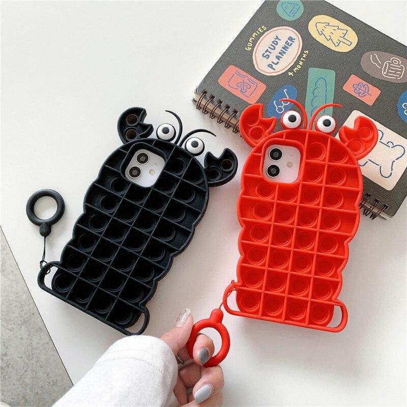 Fidget Reliver Stress Toys Rainbow Phone Case Cover For iPhone 12 11 Pro Max 7 8 Plus Push Bubble Fidget Antistress Toys