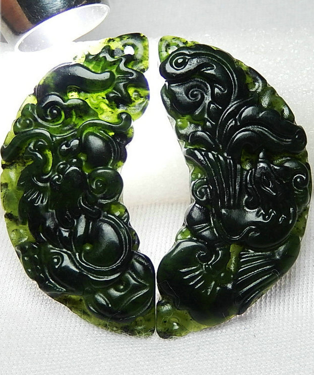 Chinese Black Green Dragon Phoenix A Pair Jade Pendant Natural Obsidian Necklace Charm Jewellery Fashion Amulet Gift Men Women