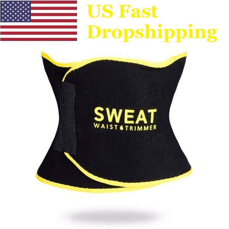 US Dropshipping Sweat Waist Trimmer Belt Weight Loss Fitness Sport Accessories Adjustable Exercise Body Waist Trainer S M L XL