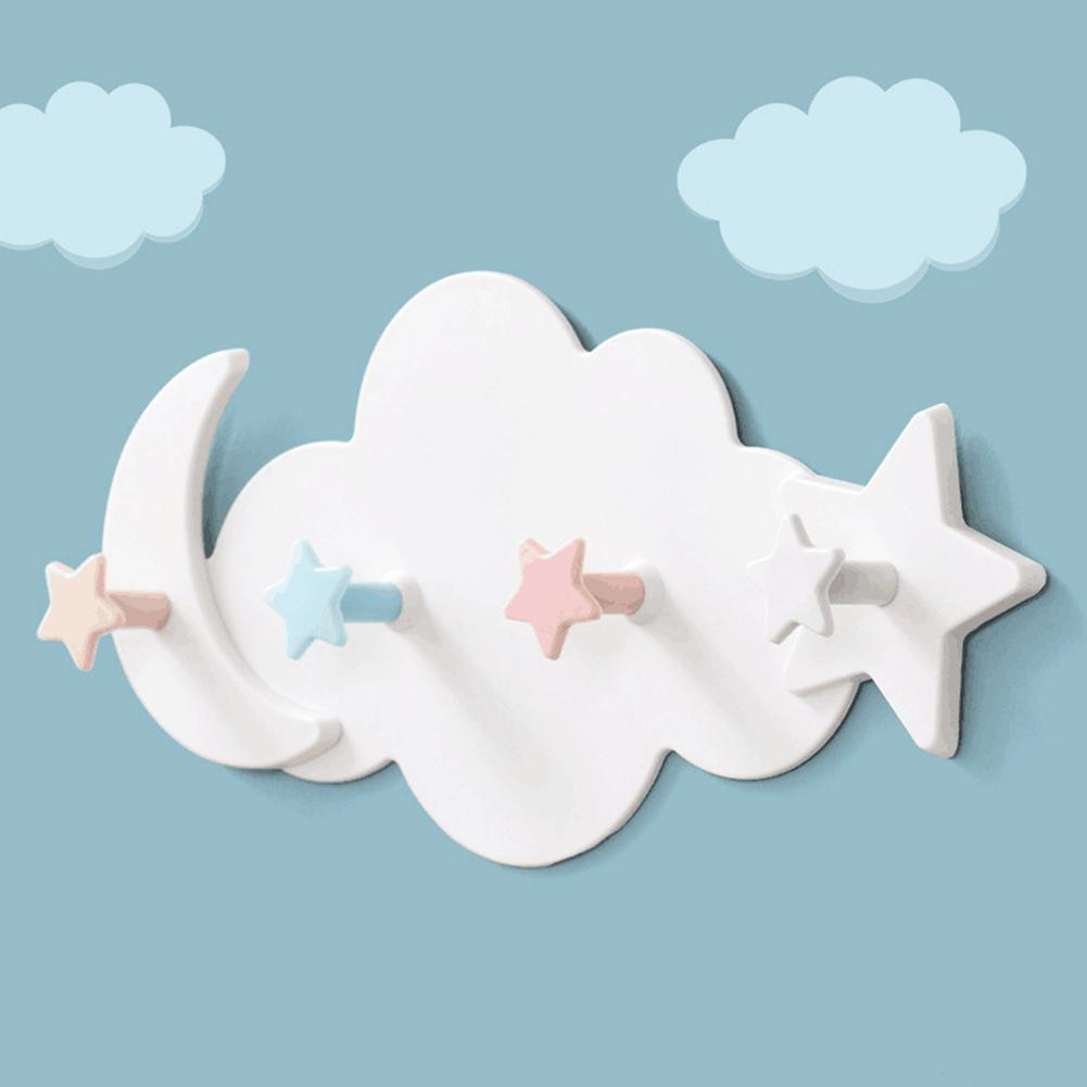 Cloud Shape Self Adhesive Hanging Hook Clothes Towel Holder Racks Wall Decoration Cartoon Design