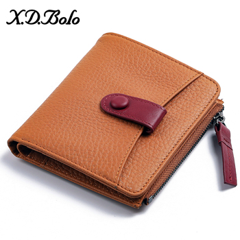 XDBOLO Leather Wallet Female Fashion Short Wallet for Women Zipper Mini Coin Purse Ladies Small Wallet Female Purse Clutch New genuine leather women wallet fashion cute women s wallet small zipper coin wallet female short leather women purse card wallet