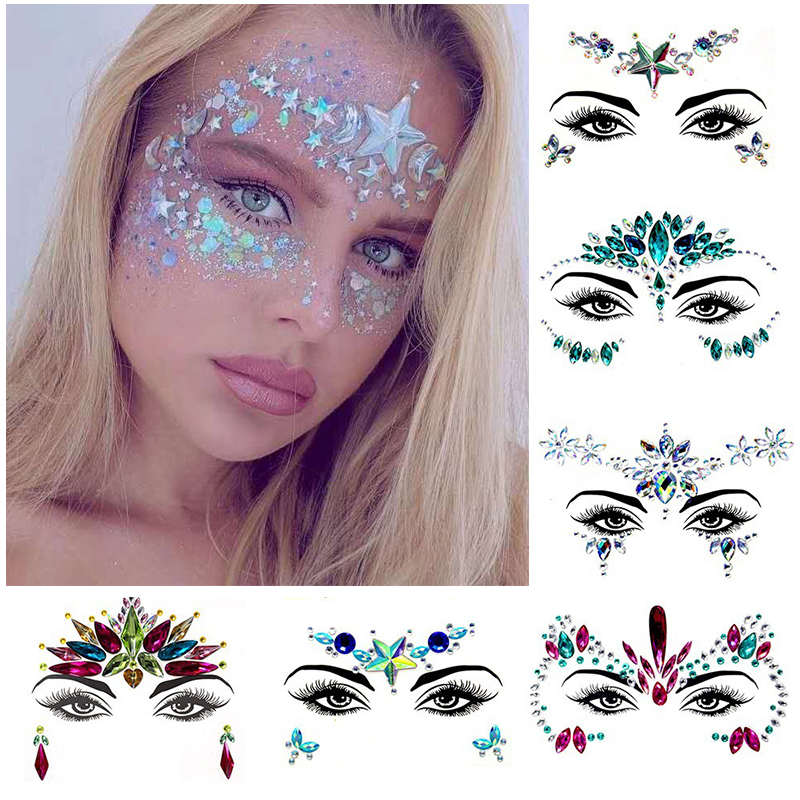 3D Sexy  face tattoo stickers Temporary tattoos  glitter fake tattoo  rhinestones for woman  Party face Jewels tatoo