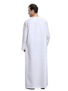 Image 4 - Uomini musulmani Jubba Thobe Kimono Lungo Abito Caftano Solido Arabia Musulman Usura Abaya Caftano Islam Dubai Arabo Vestito di Abbigliamento Islamico