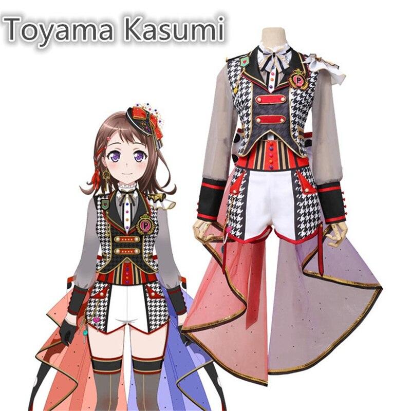 Japanese Anime Bang Dream! Poppin'Party Toyama Kasumi Cyberpunk Suit Cosplay Costume Women Halloween Gorgeous Dress H(China)
