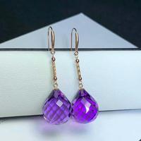 shilovem 18K yellow Gold Piezoelectric Amethyst stud earrings wedding fine Jewelry trendy gift new 13*16mm plantmyme1316832z
