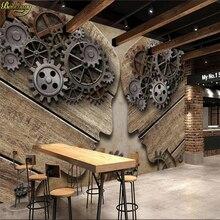 Papel pintado personalizado en 3d de beibehang mural de estilo europeo y americano retro industrial engranaje personalidad madera grano de fondo de pared