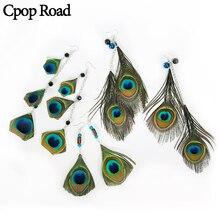 Cpop Boho Nature Peacock Earrings Stone Beads Ethnic Long Tassel Statement Vintage Women Jewelry Gift Hot Sale