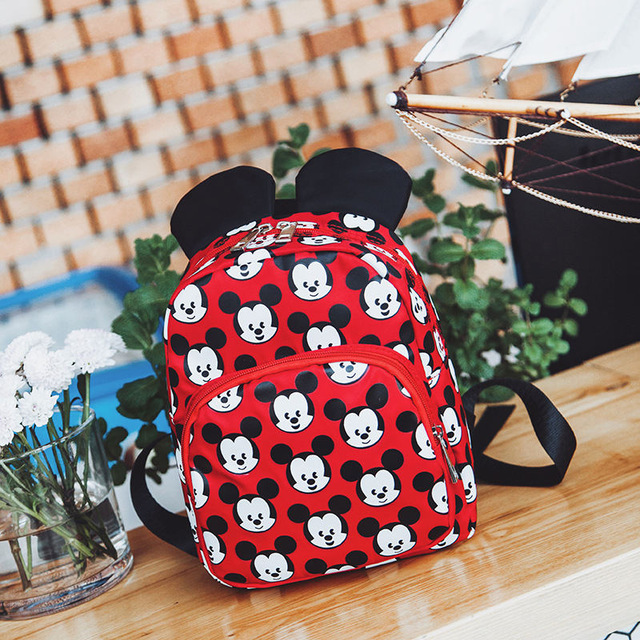 Disney 2019 Minnie Girls Backpack Kids Mickey Mouse Bag School New Cartoon Children Boy Backpacks Nylon Kindergarten Bags