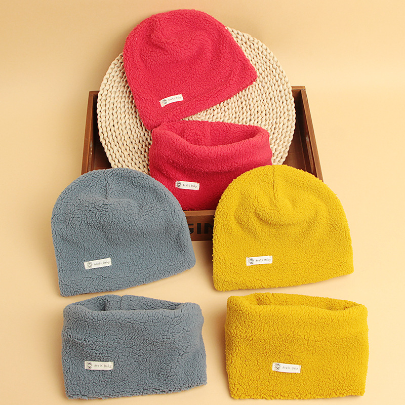 Winter Korean Version Children's Hat Scarf Sets Baby Warm Solid Color Baby Thick Hat Scarf Set