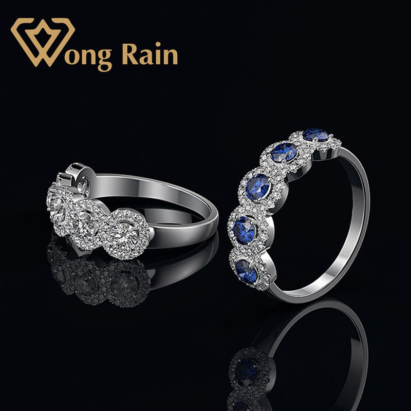 Wong Rain Luxury 100% 925 Sterling Silver Created Moissanite Sapphire Gemstone Wedding Engagement Ring Fine Jewelry Wholesale