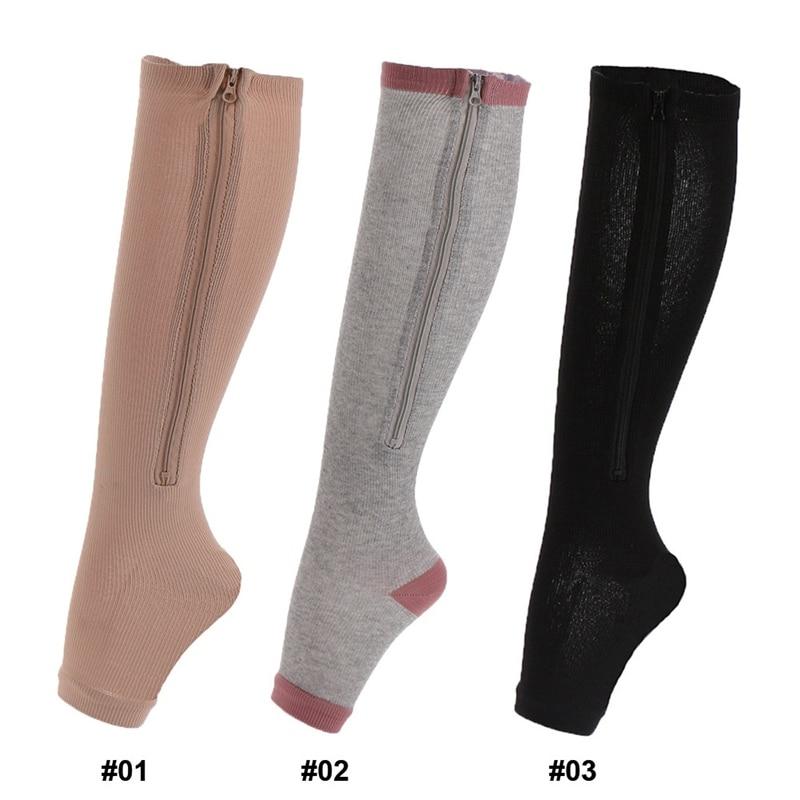 1 Pair Compression Socks Stretchy Zipper Leg Support Unisex Open Toe Anti-Fatigue Socks Varicosity Support Elastic Socks