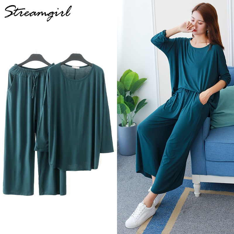 Streamgirl Womens Two Piece Set Top And Pants Summer Women Casual Trousers Suit Modal Cotton Long Sleeve Top Wide Leg Pants Suit