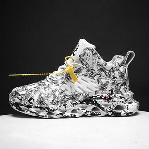 Image 1 - Осенне зимняя обувь, мужская спортивная обувь для улицы, Мужская Баскетбольная обувь, граффити, Гао Банг, увеличивающая рост, мужская повседневная обувь