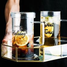 Drinking Glasses Household Tea Beer Glass Cup with Lid Handle for Tea Coffee Latte Clear Glass Iced Tea Drinkware Mugs