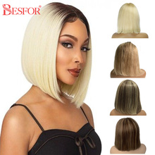 Ombre Blonde 13x1 Lace Bob Human Hair Wigs Glueless 180% Density Short Middle T Part Lace Brown Wig Pre Plucked For Black Women