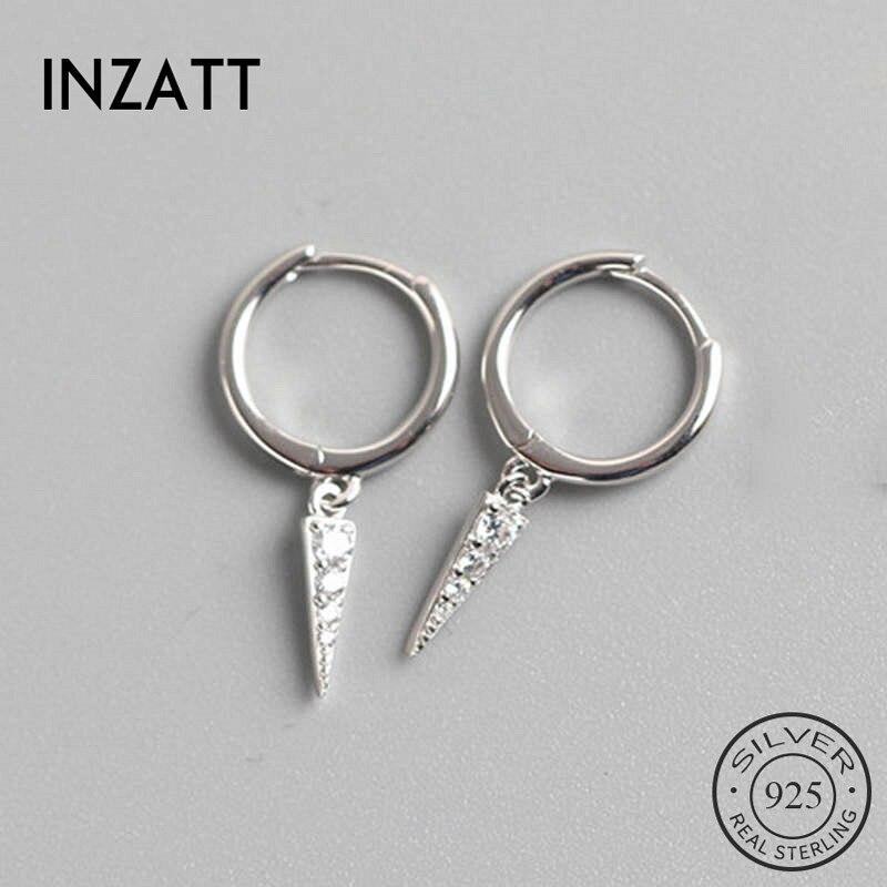 INZATT Real 925 Sterling Silve Geometric Zircon Hoop Earrings For Fashion Women Party Fine Jewelry Minimalist Accessories Gift