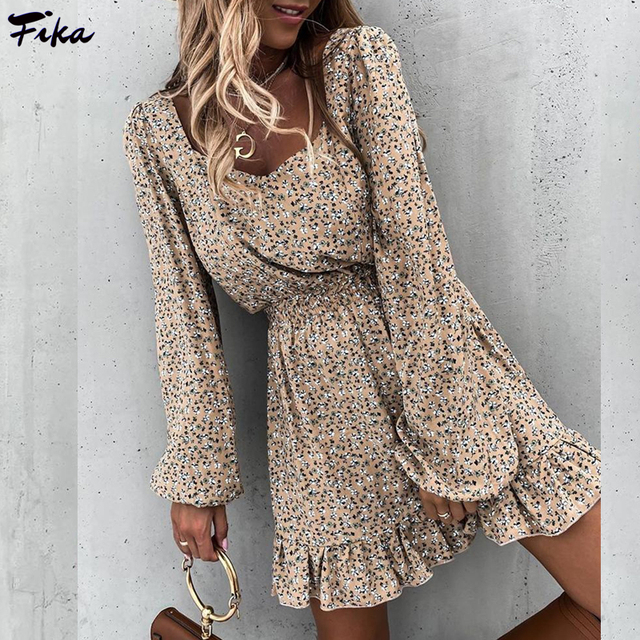 Spring Fashion Women's Long Sleeve Mini Dresses Square Collar and Elastic Waist Ruffle Flora Print Sweet Style Party Dress 2021 1