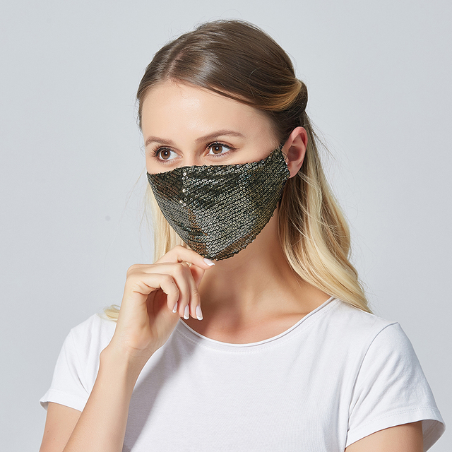 Women Summer Sequin Mask Anti-Haze Shining Party Activated carbon Windproof Mouth muffle bacteria proof Flu Face masks 4